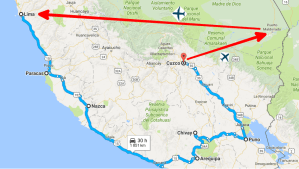 Travel itinerary in Peru
