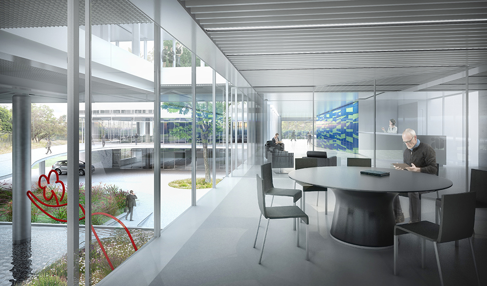 Sede administrativa do IAB possui visuais que cruzam o pátio central.
