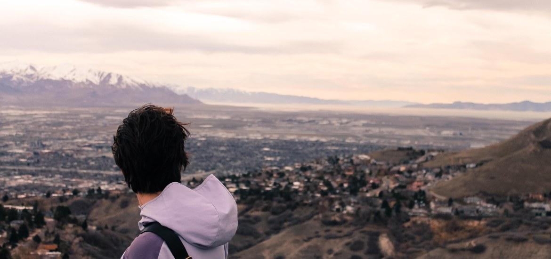 purple me on mountain