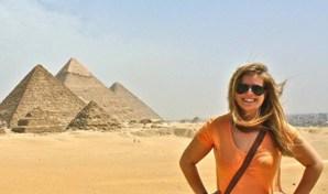 Liz Carlson at the Pyramids