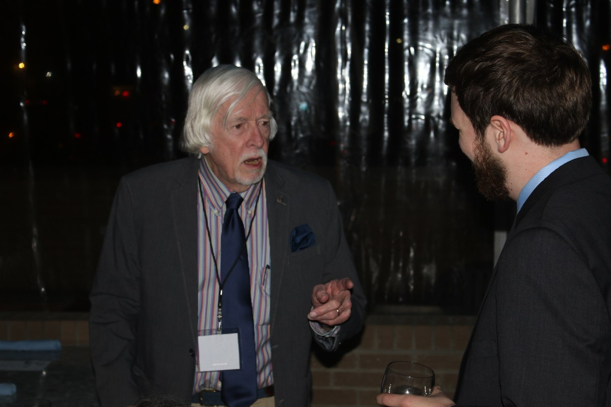 Distinguished Alumnus Edwin Yoder meets Opinion Editor Sam Schaefer. Photo by Alex Kormann