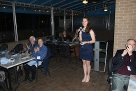 Editor Paige Ladisic welcomes guests. Photo by Alex Kormann