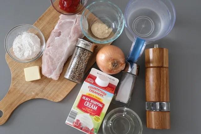 Ingredients for pork gravy