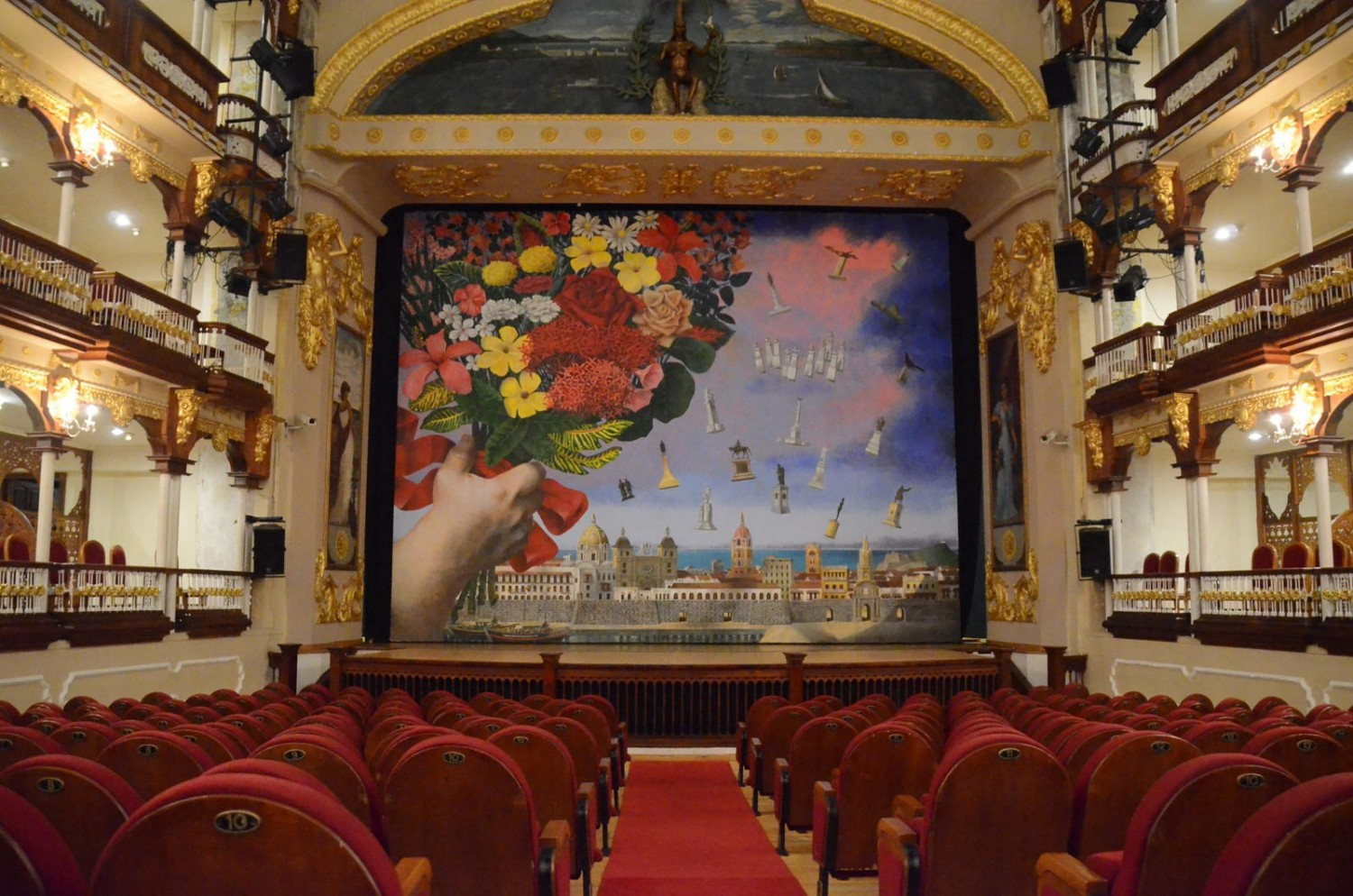 Grau mural and seating from the first floor, teatro heredia, cartagena, arts and culture