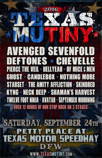 Texas Mutiny flyer with band lineup and venue details