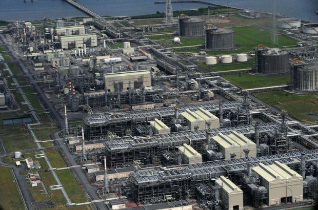 Vue aérienne d'une installation pétrolière sur l'île de Bonny dans le sud-est du Nigéria, en mars 2013.