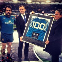 Maglia 100 caps per Lo Cicero con l'Italia del rugby