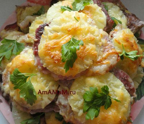 Мясо и ананасы - простой рецепт и фото