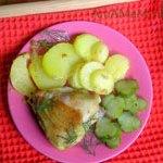 Жареная курица (окорочка) с пряностями