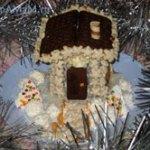 Новогодний торт Сказочный домик (без выпечки)