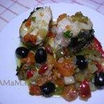 Мерлуза (хек), запеченая с замороженными овощами