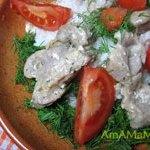 Пупки (куриные желудочки), тушеные в йогурте мацони