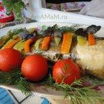 Менёк с овощами запеченный в рукаве