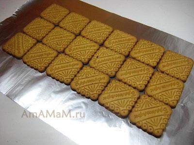 Способ раскладки квадратного печенья - окрж торта творожный домик