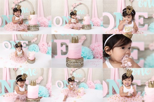 pink and gold cake smash, orange county cake smash, orange county cake smash photographer, cake smash girl