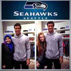 russell wilson with seattle fans, seahawks, 12th man