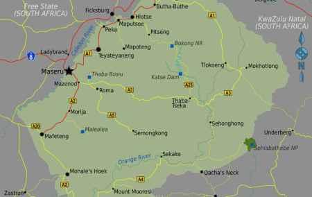 Mapa do Lesoto