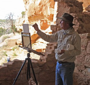 Lorenzo Chavez painting Mesa Verde. Photo by artist Jerry Cohoe.
