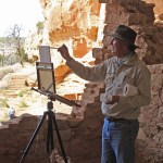 Chavez painting Mesa Verde. Photo by artist Jerry Cohoe.
