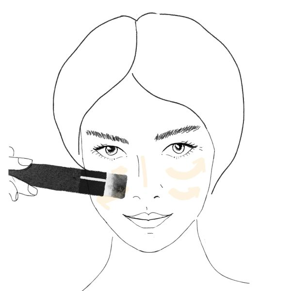 applying hiro foundation to the face