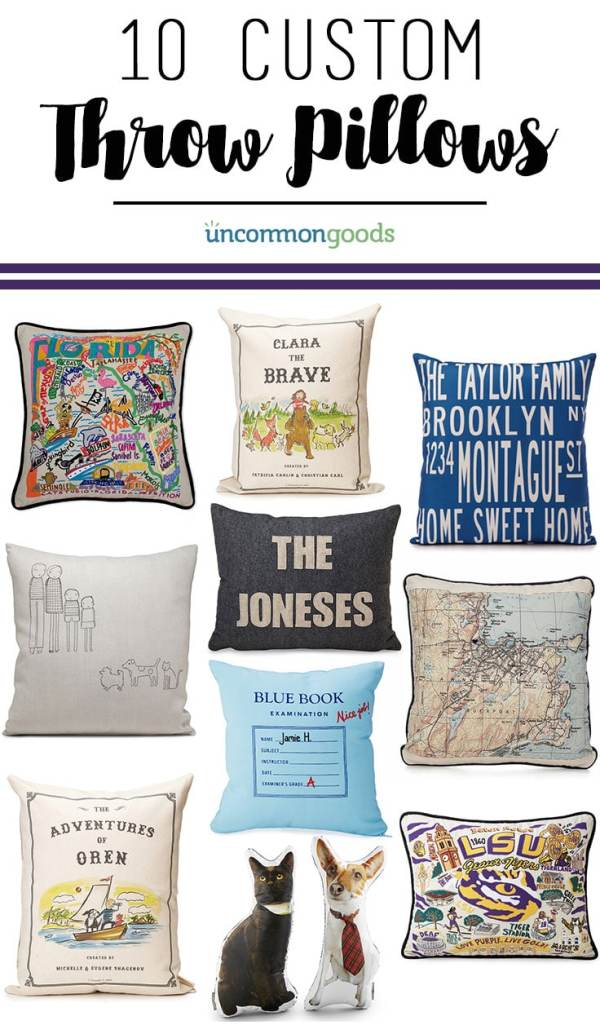 10 Custom throw pillows from UncommonGoods - great gift ideas!