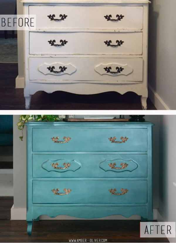 BEFORE and AFTER of DIY dresser make over with DecoArt Metallics from Michaels