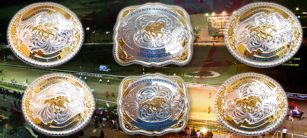 Hebillas para jinetes y entrenadores de los caballos ganadores de los Futuritys México, Garañones y Subasta