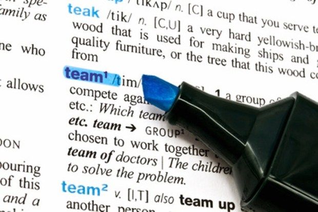 The word Team highlighted in a dictionary