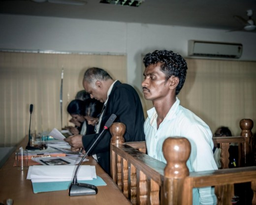 An alleged ex-Maoist and SPO (name withheld) acts as a witness at a court hearing in Jagdalpur. He is one of the many surrenders under S.R.P. Kalluri's surrender policy.