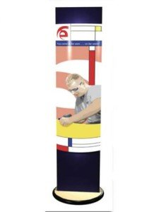 rotating backlit banner stand tower