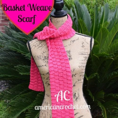 Fuchia Basket Weave Scarf | American Crochet