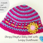 Stripy Playful Baby hat with Loopy Flower