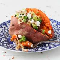 Broccoli, Shallot, Feta & Sun Dried Tomato Stuffed Sweet Potatoes
