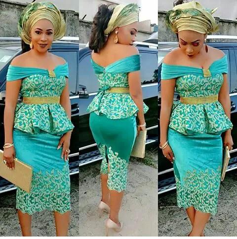 Latest Lace And Ankara  Aso Ebi Styles amillionstyles.com @shadebonnie-