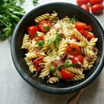 Antipasto Pasta Salad #SundaySupper--All the salty, savory goodness of antipasto platter tossed with pasta and a tangy red wine vinaigrette, making this a hearty and loved side dish.