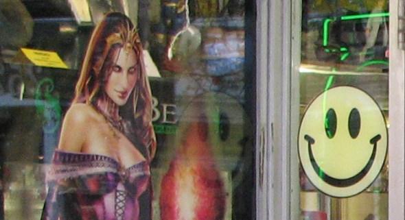 Window display at Harrison's Comics in Salem, MA
