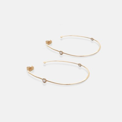 14k Rose Cut Hoops