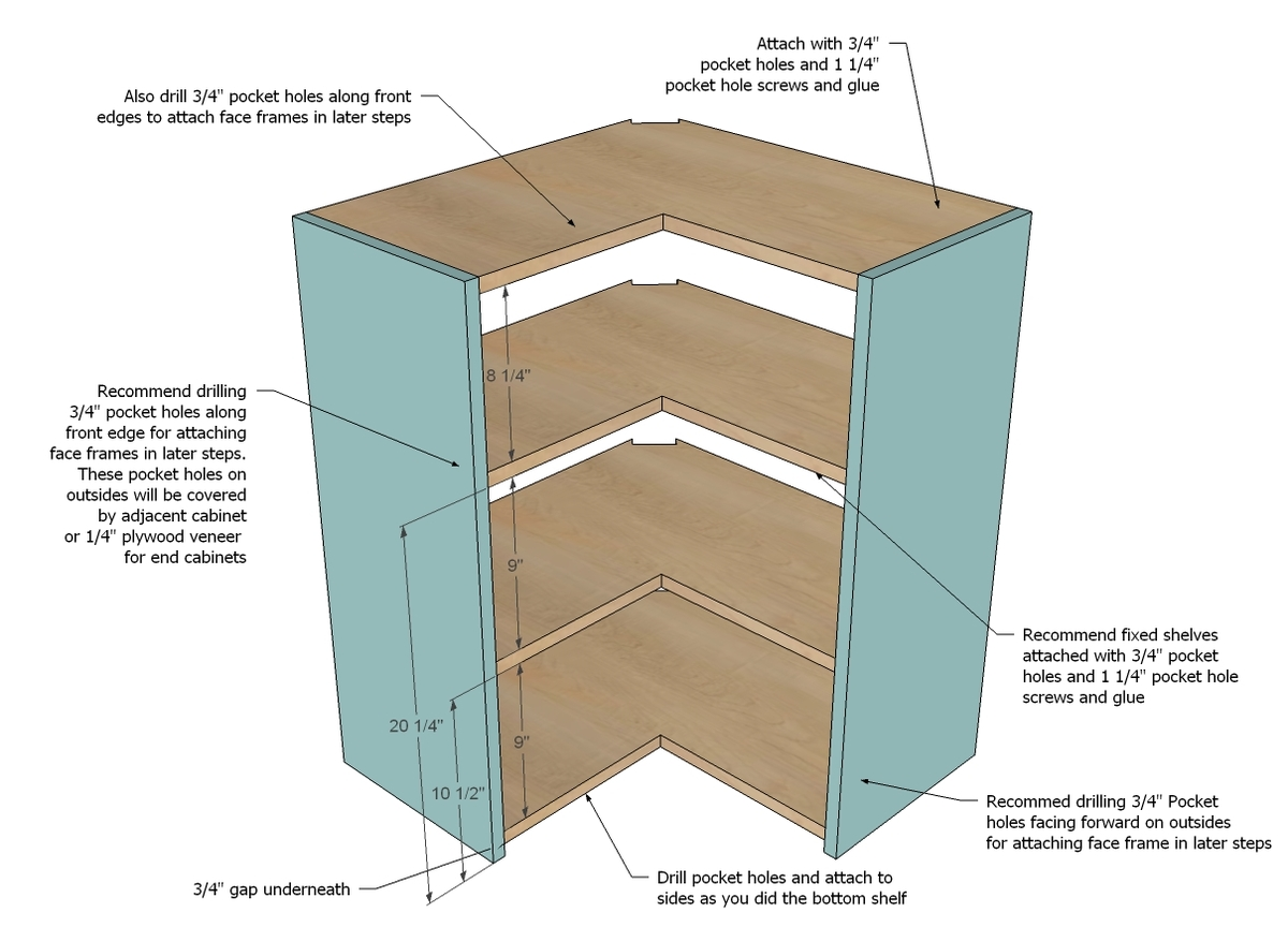 wall corner pie cut kitchen cabinet kitchen cabinet shelves First cut all of your shelves as shown in diagram