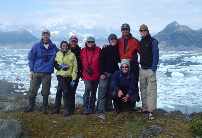 Group picture with Columbia Glacier in background