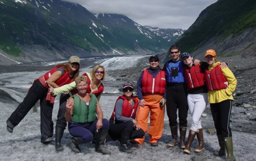 Hiking group at Valdez Glacier