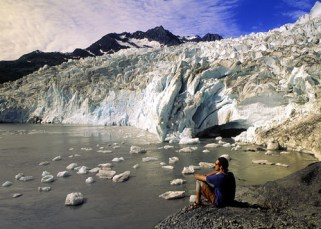 Jonathon Stanton takes in the pawer and beauty of Shoup Glacier