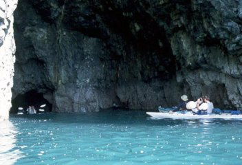 Sea caves on Glacier Island. We are very fortunate to have many long days each summer to paddle such a powerful shore line.