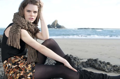 Clare from Nova model Agency, Auckland, NZ, wearing Chelsea clothing. Fashion photoshoot in Whatipu beach, Waitekere range