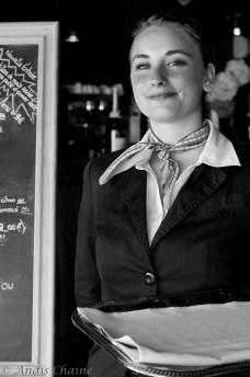 "Portrait Waitress at ""The Seagull house"" 4 stars restaurant at La Rochelle France"