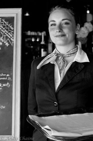 "Portrait Waitress at ""The Seagull house"" 4 stars restaurant at La Rochelle France"