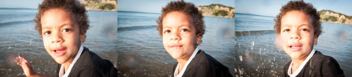 Toddler boy water montage portrait at sunset professional portrait by Anais Chaine Auckland photographer in Shakespeare Bay, New Zealand
