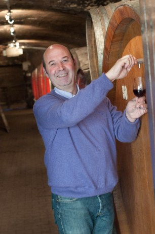 Pierre-Marie Chermette French wine maker beaujolais Fleurie in his cellar