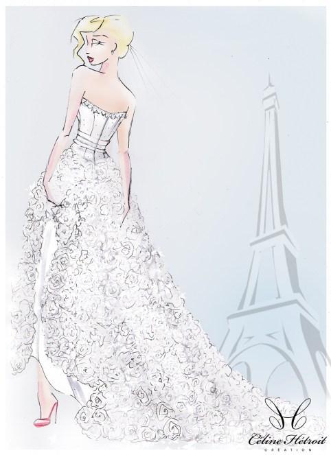 CroquisCelineWeddingDress Paris