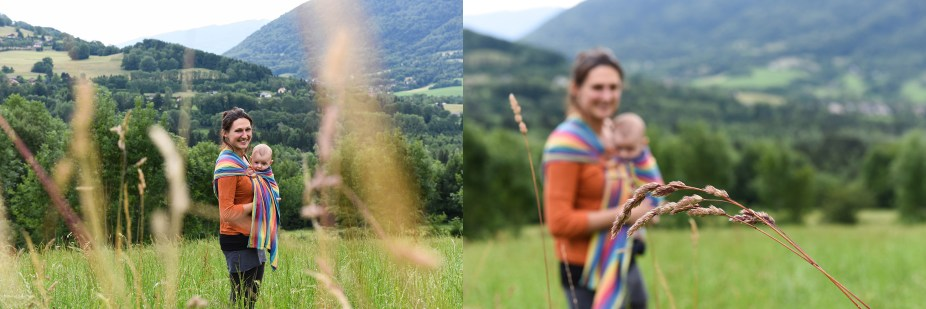 Diptych In a beautiful landscape and high grass a mommy holding her young baby with a scarf