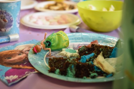 Chocolate cake leftover in a plate with frozen doll
